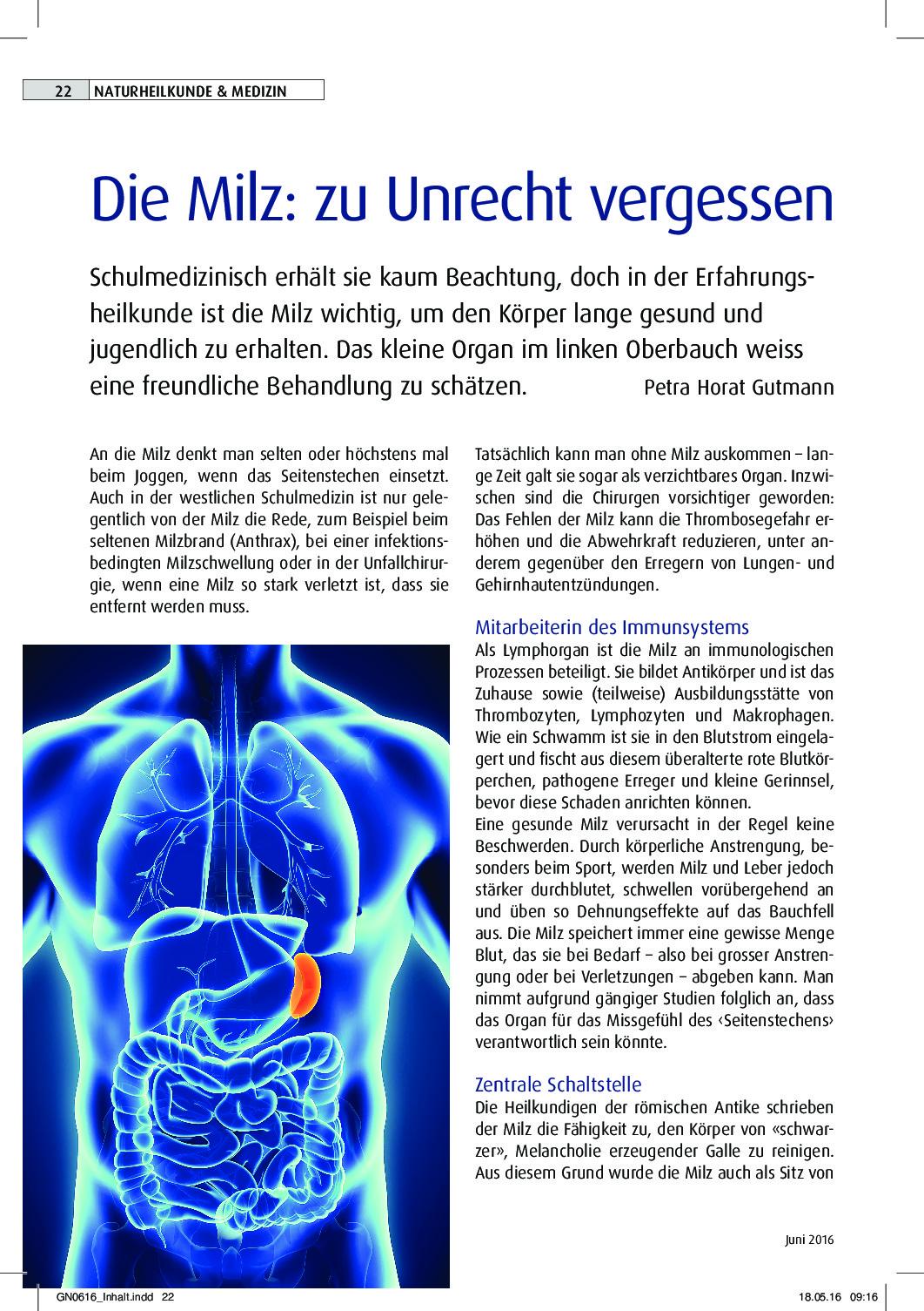 Lange fit bleiben? Die Milz pflegen.   Gesundheitsjournalistin.ch